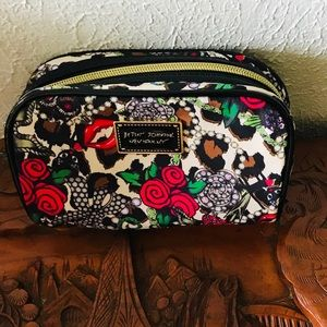 Betsey Johnson cosmetic bag jewels roses decor